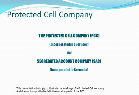 Protected Cell Company THE PROTECTED CELL COMPANY (PCC) (Incorporated in Guernsey] and SEGREGATED ACCOUNT COMPANY (SAC) (Incorporated in Bermuda] This.