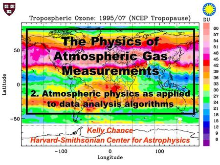 The Physics of Atmospheric Gas Measurements 2. Atmospheric physics as applied to data analysis algorithms Kelly Chance Harvard-Smithsonian Center for Astrophysics.