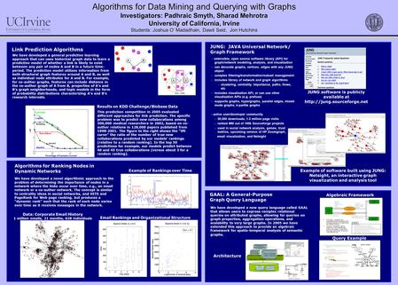 Algorithms for Data Mining and Querying with Graphs Investigators: Padhraic Smyth, Sharad Mehrotra University of California, Irvine Students: Joshua O'