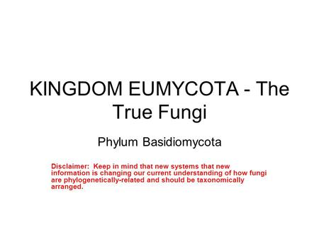 KINGDOM EUMYCOTA - The True Fungi Phylum Basidiomycota Disclaimer: Keep in mind that new systems that new information is changing our current understanding.
