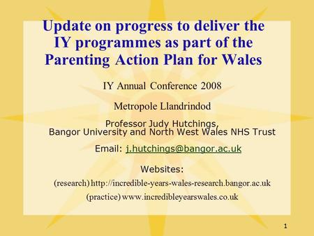 1 Update on progress to deliver the IY programmes as part of the Parenting Action Plan for Wales IY Annual Conference 2008 Metropole Llandrindod Professor.