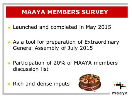 MAAYA MEMBERS SURVEY Launched and completed in May 2015 As a tool for preparation of Extraordinary General Assembly of July 2015 Participation of 20% of.