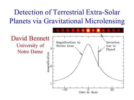 Detection of Terrestrial Extra-Solar Planets via Gravitational Microlensing David Bennett University of Notre Dame.
