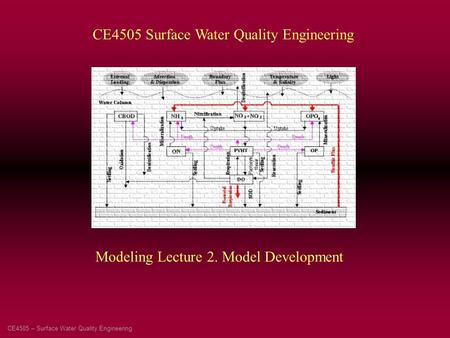 CE4505 – Surface Water Quality Engineering CE4505 Surface Water Quality Engineering Modeling Lecture 2. Model Development.