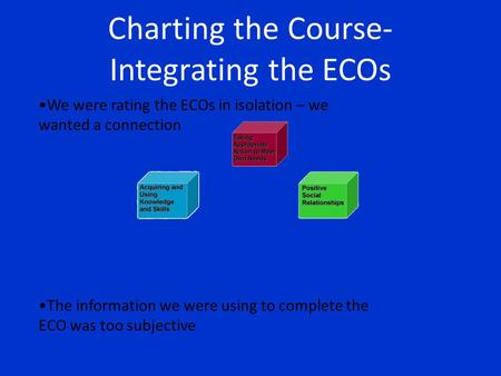 Charting the Course- Integrating the ECOs We were rating the ECOs in isolation – we wanted a connection The information we were using to complete the ECO.