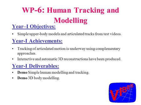 WP -6: Human Tracking and Modelling Year–I Objectives: Simple upper-body models and articulated tracks from test videos. Year-I Achievements: Tracking.