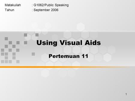 1 Matakuliah: G1062/Public Speaking Tahun: September 2006 Using Visual Aids Pertemuan 11.