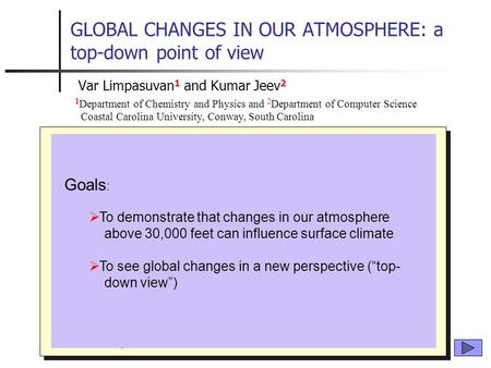 GLOBAL CHANGES IN OUR ATMOSPHERE: a top-down point of view  Atmospheric Science 101  Structure of atmosphere  Important relationships  The Northern.