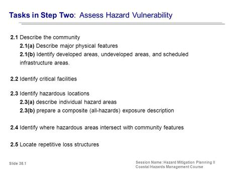 Tasks in Step Two: Assess Hazard Vulnerability Session Name: Hazard Mitigation Planning II Coastal Hazards Management Course 2.1 Describe the community.