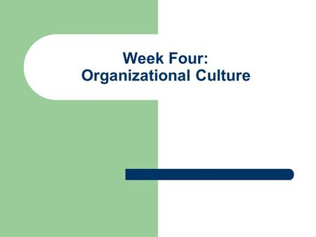 Week Four: Organizational Culture. Objectives for Week Four Memos of Understanding Describe Organizational Culture and its Elements Consider the Purpose.
