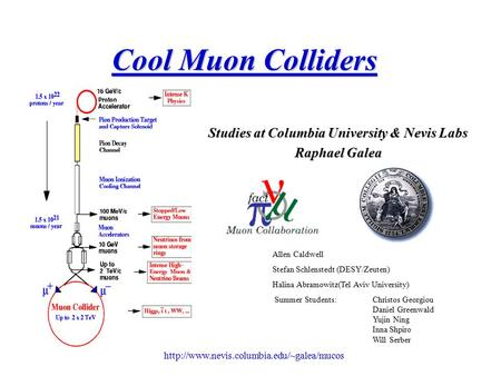 Cool Muon Colliders Studies at Columbia University & Nevis Labs Raphael Galea Allen Caldwell Stefan Schlenstedt.