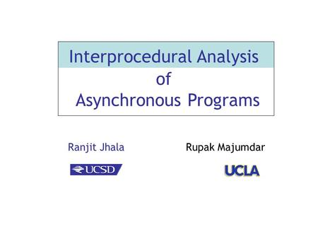 Ranjit Jhala Rupak Majumdar Interprocedural Analysis of Asynchronous Programs.