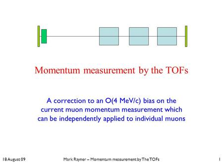 18 August 09Mark Rayner – Momentum measurement by The TOFs1 Momentum measurement by the TOFs A correction to an O(4 MeV/c) bias on the current muon momentum.