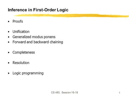 CS 460, Session 16-18 1 Inference in First-Order Logic Proofs Unification Generalized modus ponens Forward and backward chaining Completeness Resolution.