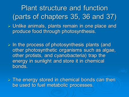 Plant structure and function (parts of chapters 35, 36 and 37)  Unlike animals, plants remain in one place and produce food through photosynthesis. 