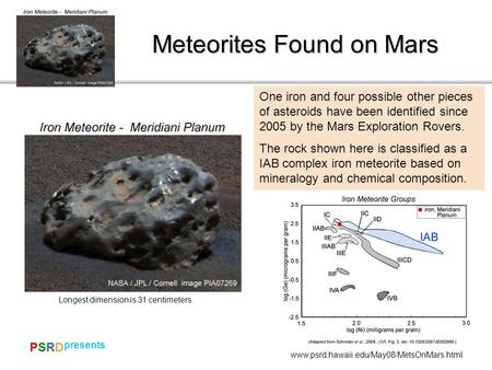 PSRDPSRD presents www.psrd.hawaii.edu/May08/MetsOnMars.html Meteorites Found on Mars Dewar area One iron and four possible other pieces of asteroids have.