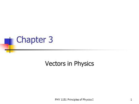 PHY 1151 Principles of Physics I