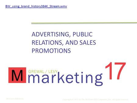 Marketing GREWAL / LEVY M 17 ADVERTISING, PUBLIC RELATIONS, AND SALES PROMOTIONS Copyright © 2011 by The McGraw-Hill Companies, Inc. All rights reserved.