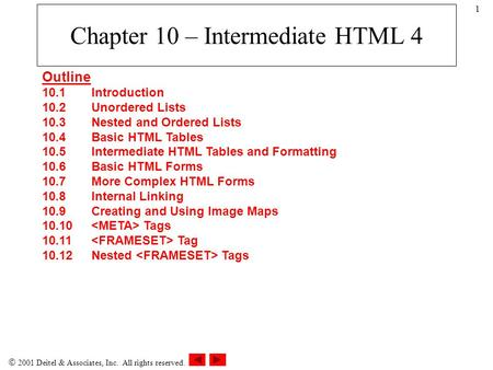  2001 Deitel & Associates, Inc. All rights reserved. 1 Chapter 10 – Intermediate HTML 4 Outline 10.1Introduction 10.2Unordered Lists 10.3Nested and Ordered.