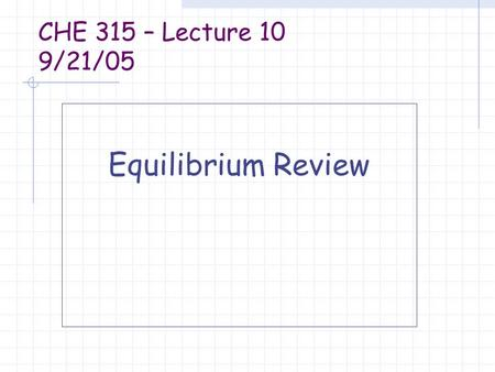 CHE 315 – Lecture 10 9/21/05 Equilibrium Review. Equilibrium constant K is dimensionless K>1, reaction is favored K>100, reaction is considered to go.