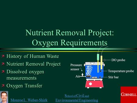 Monroe L. Weber-Shirk S chool of Civil and Environmental Engineering Nutrient Removal Project: Oxygen Requirements ä History of Human Waste ä Nutrient.