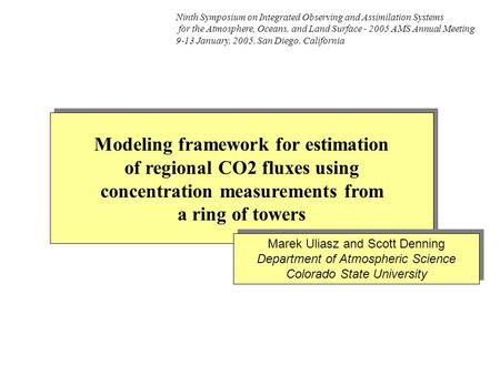 Modeling framework for estimation of regional CO2 fluxes using concentration measurements from a ring of towers Modeling framework for estimation of regional.