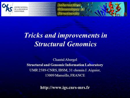 Tricks and improvements in Structural Genomics Chantal Abergel Structural and Genomic Information Laboratory UMR 2589-CNRS, IBSM, 31 chemin J. Aiguier,
