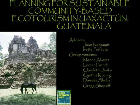 PLANNING FOR SUSTAINABLE COMMUNITY-BASED ECOTOURISM IN UAXACTÚN, GUATEMALA Advisors: Joan Nassauer Ivette Perfecto Group members: Marina Alvarez Lorcan.