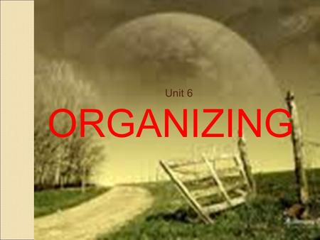 1 Unit 6 ORGANIZING. 2 Organizing Organization: collection of people working together under a division of labor and a hierarchy of authority to achieve.