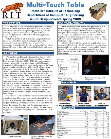 The objective of this senior design project was to design and build a multi-touch interface device that could allow users to interact with a computer application.
