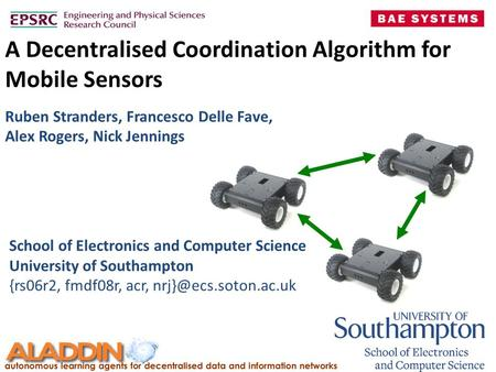 A Decentralised Coordination Algorithm for Mobile Sensors School of Electronics and Computer Science University of Southampton {rs06r2, fmdf08r, acr,