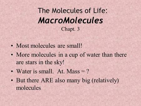 The Molecules of Life : MacroMolecules Chapt. 3 Most molecules are small! More molecules in a cup of water than there are stars in the sky! Water is small.