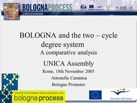 BOLOGNA and the two – cycle degree system A comparative analysis UNICA Assembly Rome, 18th November 2005 Antonella Cammisa Bologna Promoter.