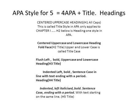 APA Style for 5 = 4APA + Title. Headings CENTERED UPPERCASE HEADING(H1 All Caps) This is called Title Style in APA only applies to CHAPTER I ….. H2 below.
