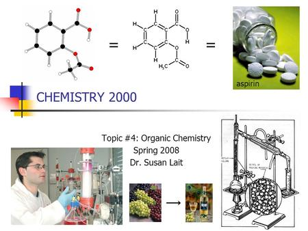 CHEMISTRY 2000 Topic #4: Organic Chemistry Spring 2008 Dr. Susan Lait == aspirin.