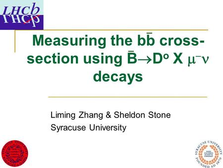 Measuring the bb cross- section using B  D o X   decays Liming Zhang & Sheldon Stone Syracuse University.