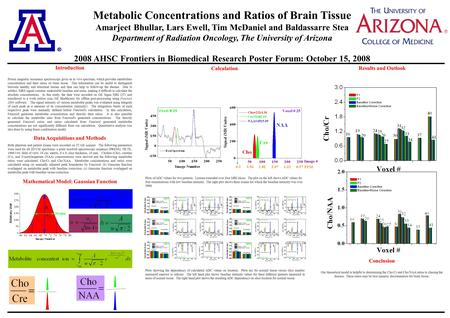 Metabolic Concentrations and Ratios of Brain Tissue Amarjeet Bhullar, Lars Ewell, Tim McDaniel and Baldassarre Stea Department of Radiation Oncology, The.
