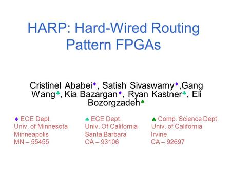 HARP: Hard-Wired Routing Pattern FPGAs Cristinel Ababei , Satish Sivaswamy ,Gang Wang , Kia Bazargan , Ryan Kastner , Eli Bozorgzadeh   ECE Dept.