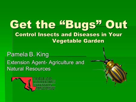"Get the ""Bugs"" Out Control Insects and Diseases in Your Vegetable Garden Pamela B. King Extension Agent- Agriculture and Natural Resources."