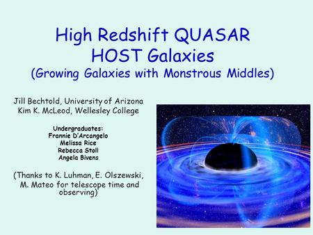 High Redshift QUASAR HOST Galaxies (Growing Galaxies with Monstrous Middles) Jill Bechtold, University of Arizona Kim K. McLeod, Wellesley College Undergraduates: