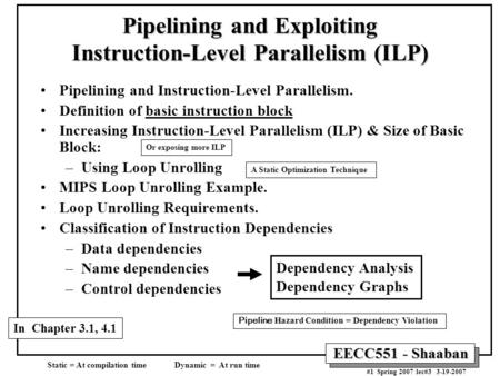 EECC551 - Shaaban #1 Spring 2007 lec#3 3-19-2007 Pipelining and Instruction-Level Parallelism. Definition of basic instruction block Increasing Instruction-Level.