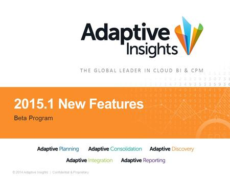 1 © 2014 Adaptive Insights | Confidential & Proprietary THE GLOBAL LEADER IN CLOUD BI & CPM 2015.1 New Features Beta Program.