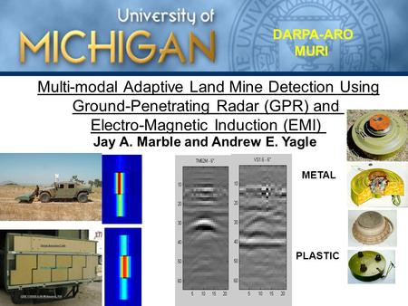 Multi-modal Adaptive Land Mine Detection Using Ground-Penetrating Radar (GPR) and Electro-Magnetic Induction (EMI) METAL PLASTIC DARPA-ARO MURI Jay A.