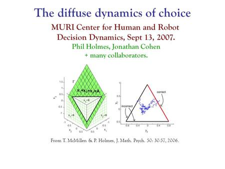 From T. McMillen & P. Holmes, J. Math. Psych. 50: 30-57, 2006. MURI Center for Human and Robot Decision Dynamics, Sept 13, 2007. Phil Holmes, Jonathan.