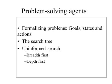 Problem-solving agents Formalizing problems: Goals, states and actions The search tree Uninformed search –Breadth first –Depth first.