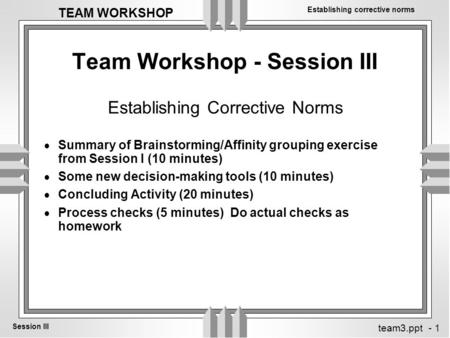 Establishing corrective norms Session III TEAM WORKSHOP team3.ppt - 1 Team Workshop - Session III  Summary of Brainstorming/Affinity grouping exercise.