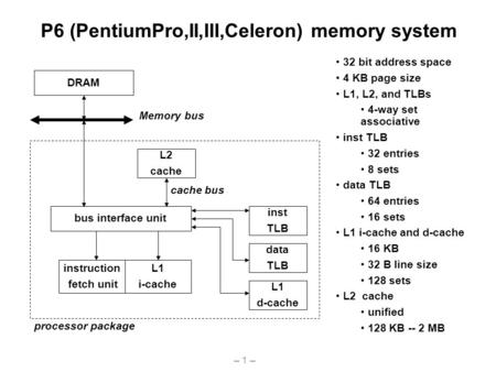 – 1 – P6 (PentiumPro,II,III,Celeron) memory system bus interface unit DRAM Memory bus instruction fetch unit L1 i-cache L2 cache cache bus L1 d-cache inst.