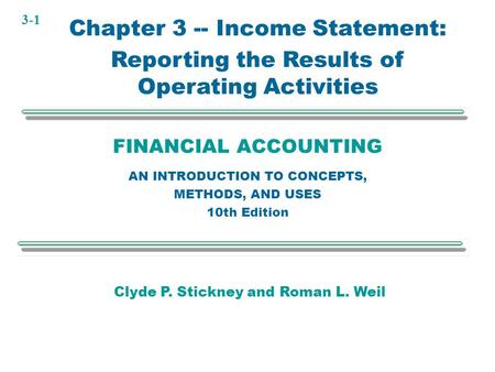Chapter 3 -- Income Statement: