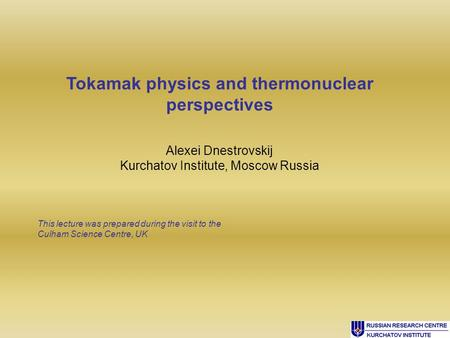 Tokamak physics and thermonuclear perspectives