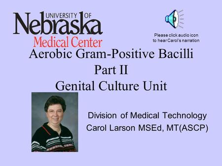 Aerobic Gram-Positive Bacilli Part II Genital Culture Unit